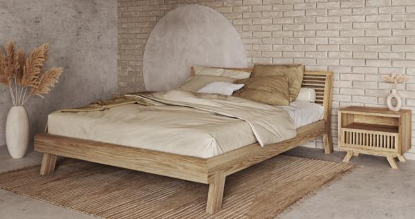 Łóżko z litego drewna detal Kolekcja Cutter
