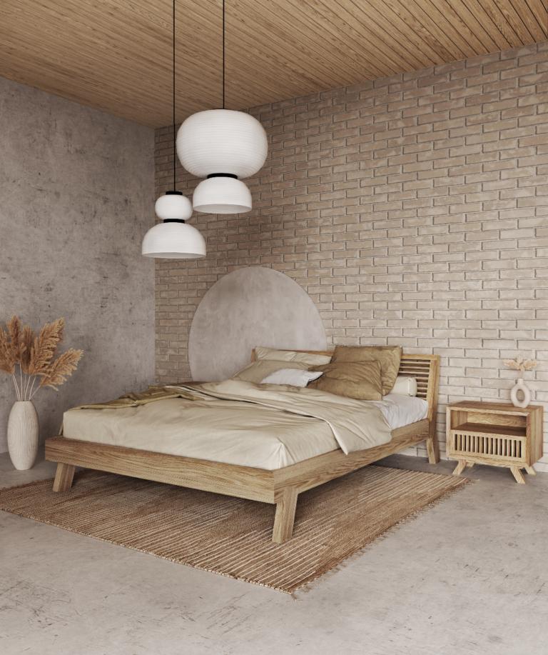 Łóżko z litego drewna Kolekcja Cutter