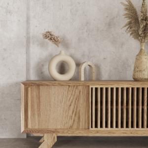 Komoda RTV z litego drewna dębowego Kolekcja Cutter